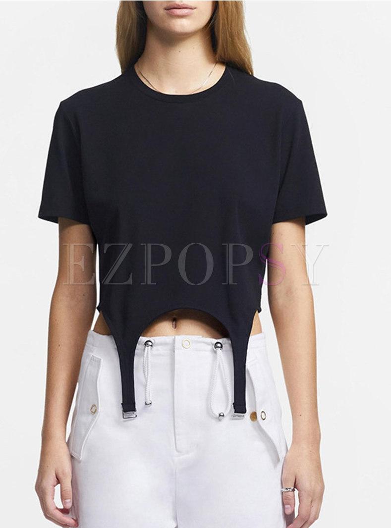 Crew Neck Pullover Asymmetric Crop T-shirt