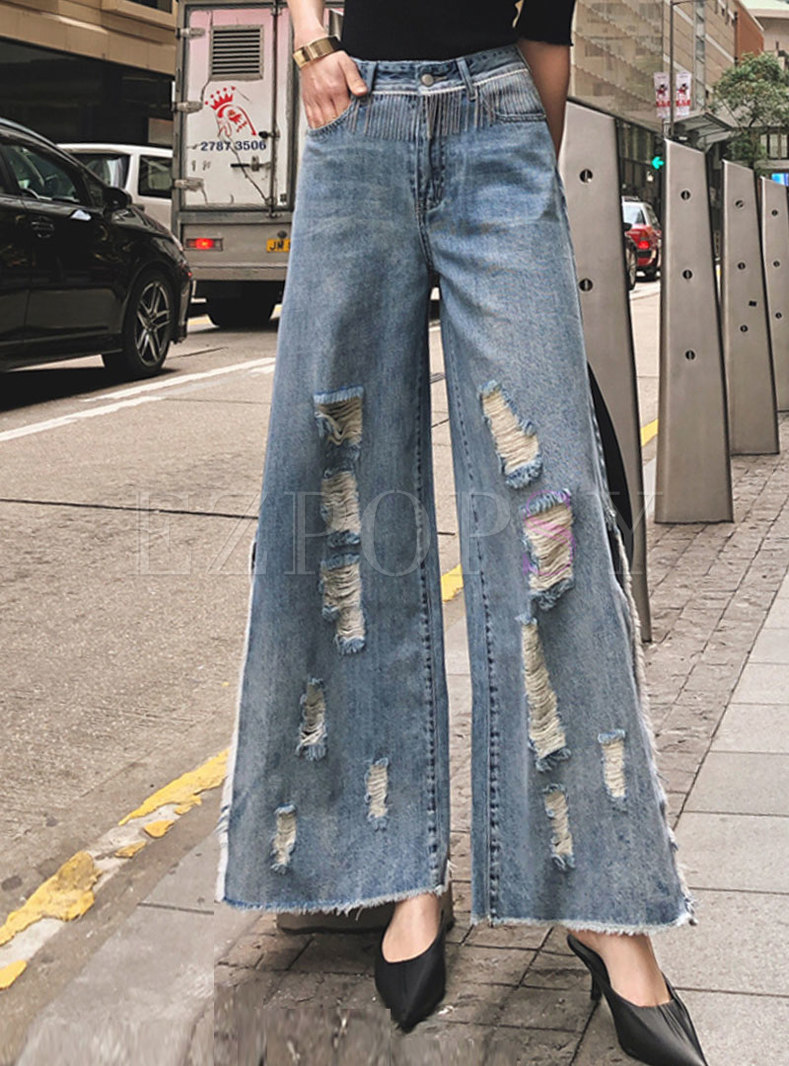 Retro High Waisted Wide Leg Split Ripped Jeans