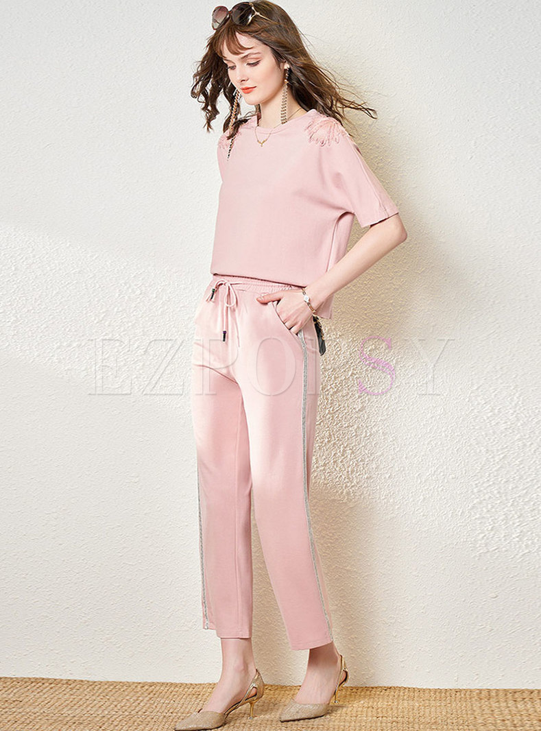 Casual Pink Mesh Patchwork Straight Pant Suits