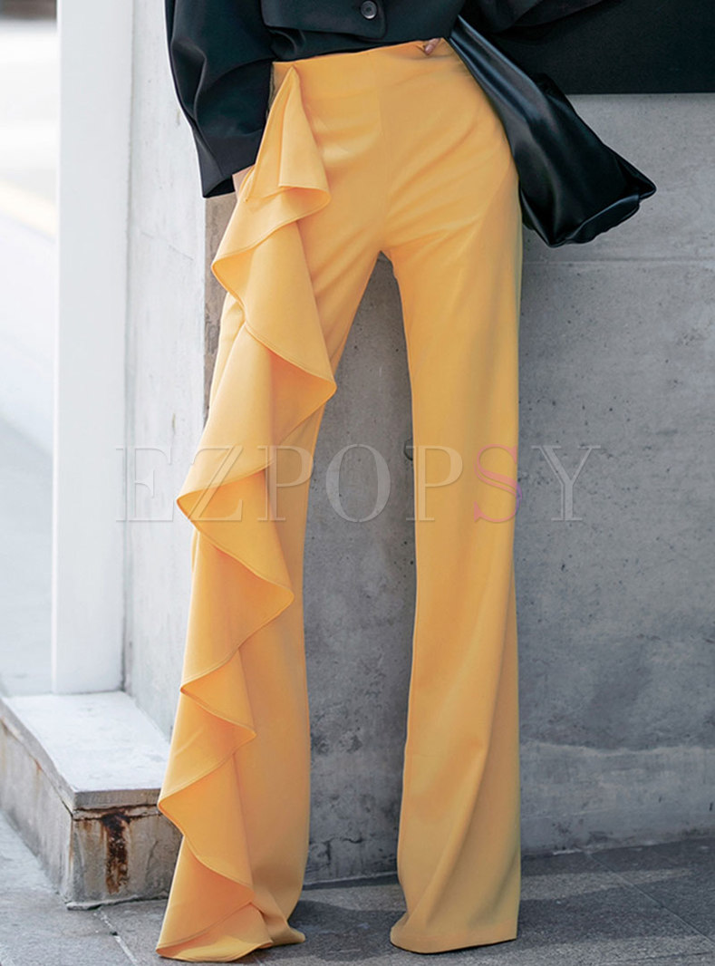 Casual Solid High Waisted Ruffle Straight Pants