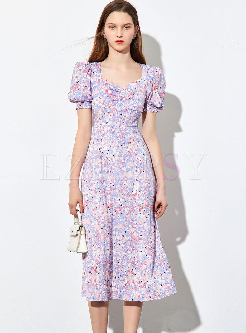 Square Neck Puff Sleeve Floral Split Dress