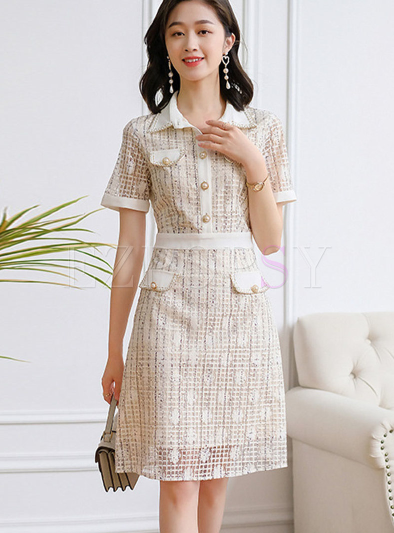 Turn-down Collar Lace Patchwork Plaid A Line Dress