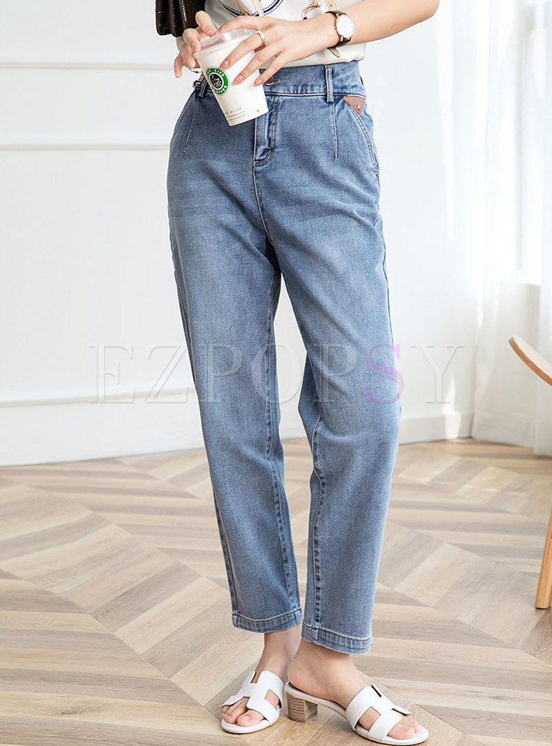 Casual Light Blue High Waisted Straight Jeans