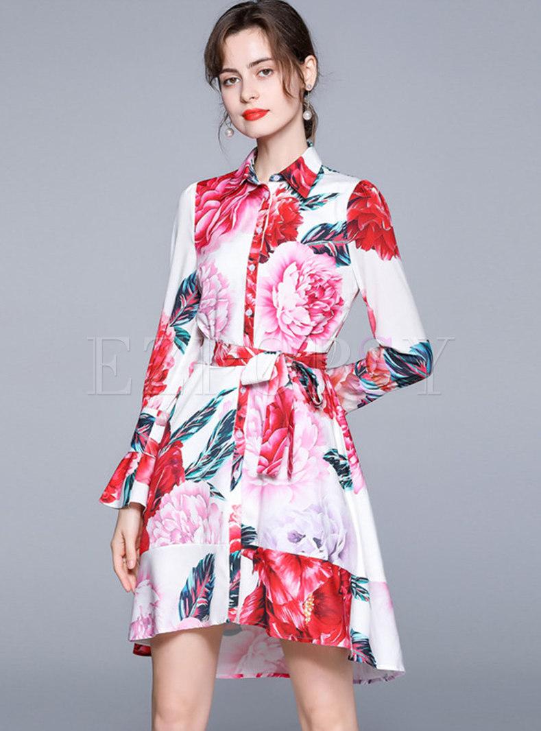 Turn-down Collar Print A Line Shirt Dress