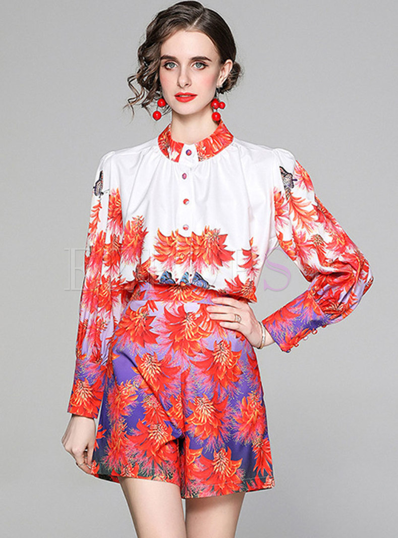 Mock Neck Print High Waisted Wide Leg Hot Pant Suits