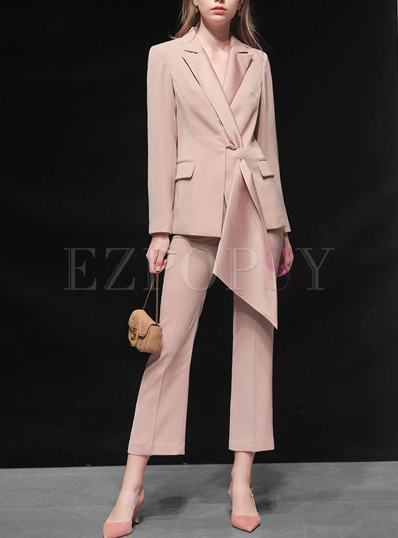 Pink Work Notched Collar High Waisted Pant Suits
