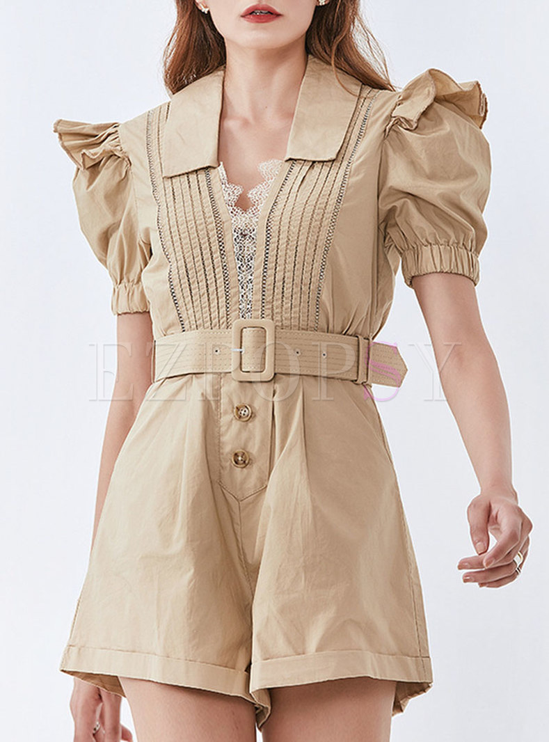 V-neck Puff Sleeve Ruffle High Waisted Rompers