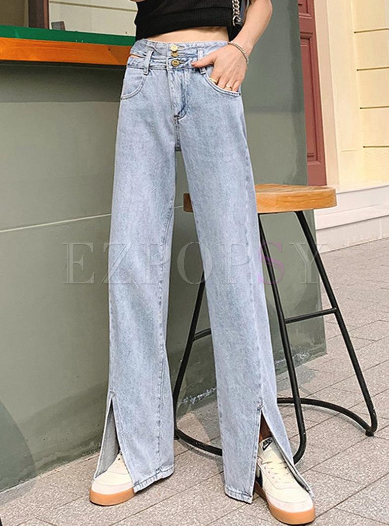 Light Blue High Waisted Straight Split Jeans