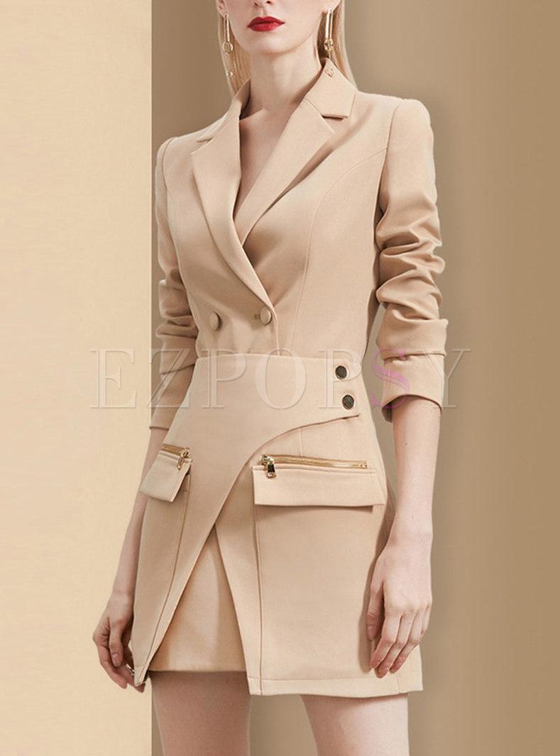 Long Sleeve Sheath Blazer Dress With Skirt