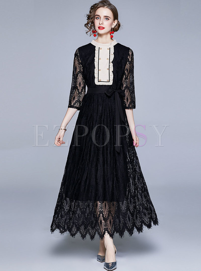 Black 3/4 Sleeve Patchwork Lace Party Maxi Dress