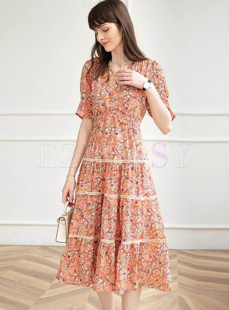 Print Lace Patchwork A Line Midi Dress