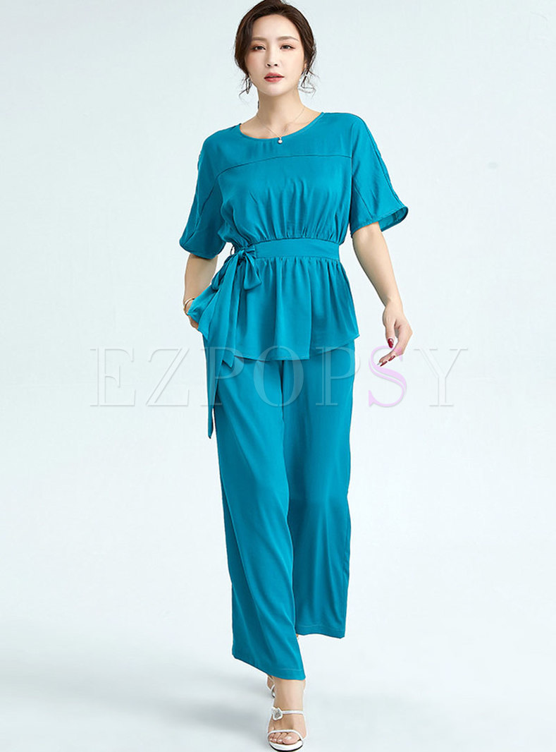 Crew Neck Tied Blouse & High Waisted Palazzo Pants