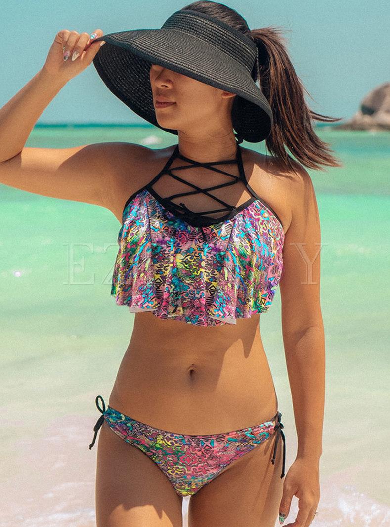 Sexy Cross Halter Ruffle Floral Bikini