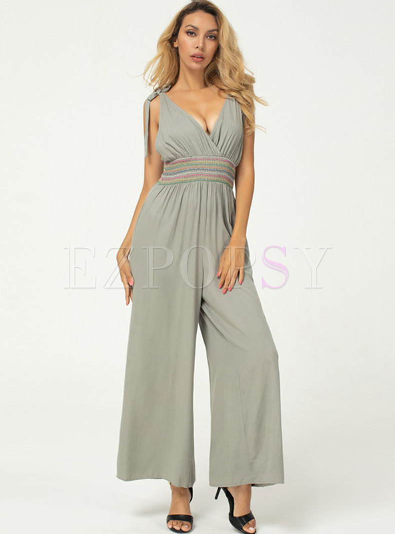 Sexy V-neck High Waisted Strappy Wide Leg Jumpsuis