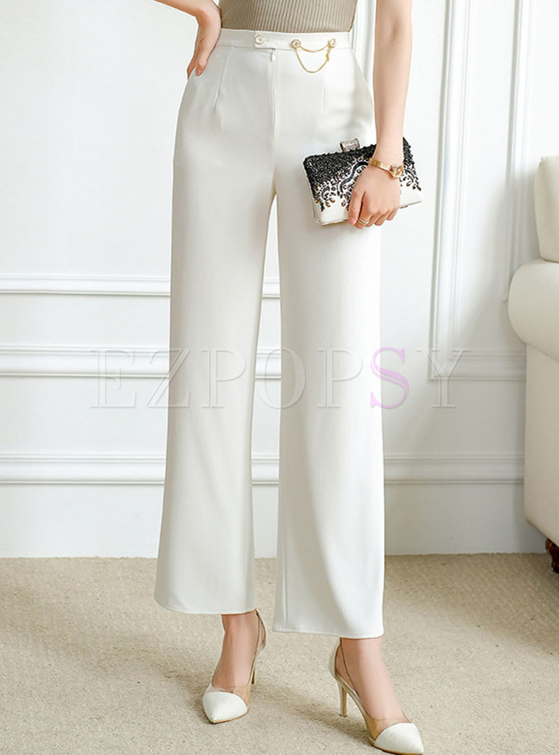 Casual High Waisted Chain Embellished Palazzo Pants