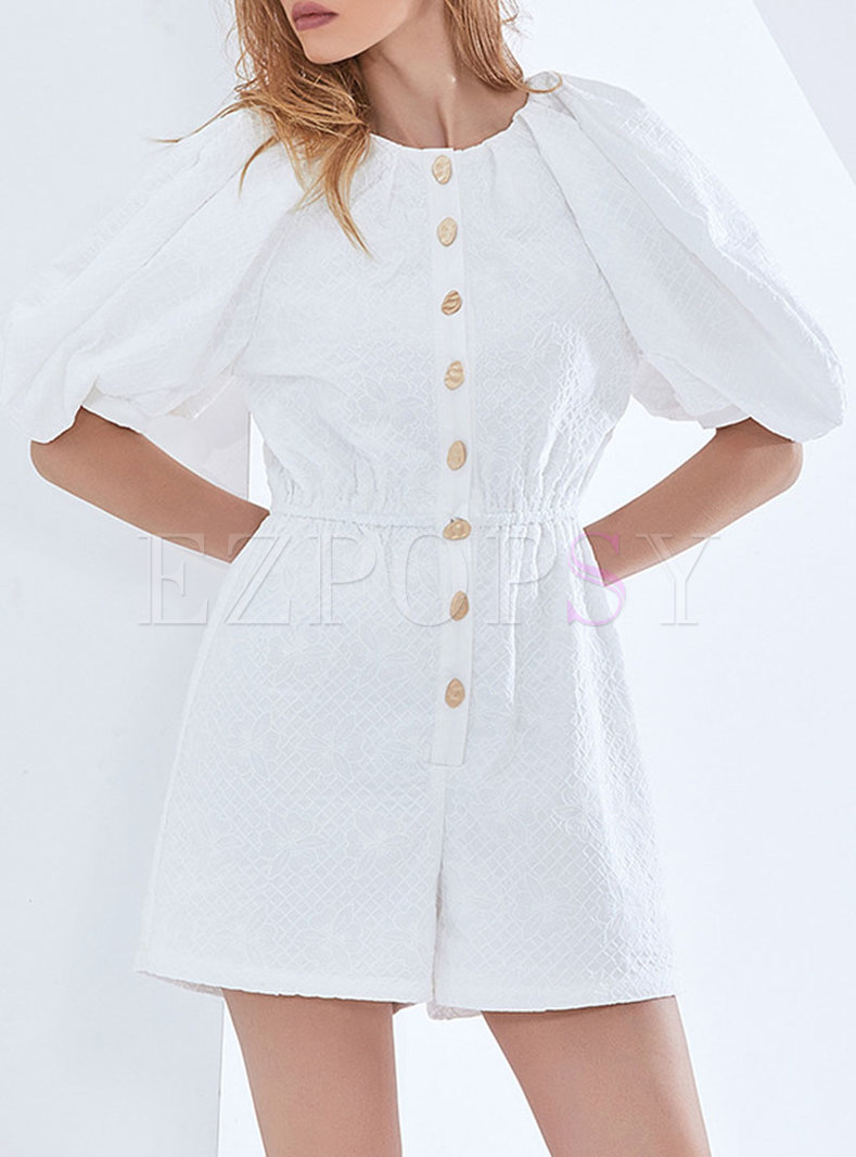 White Puff Sleeve High Waisted Wide Leg rompers