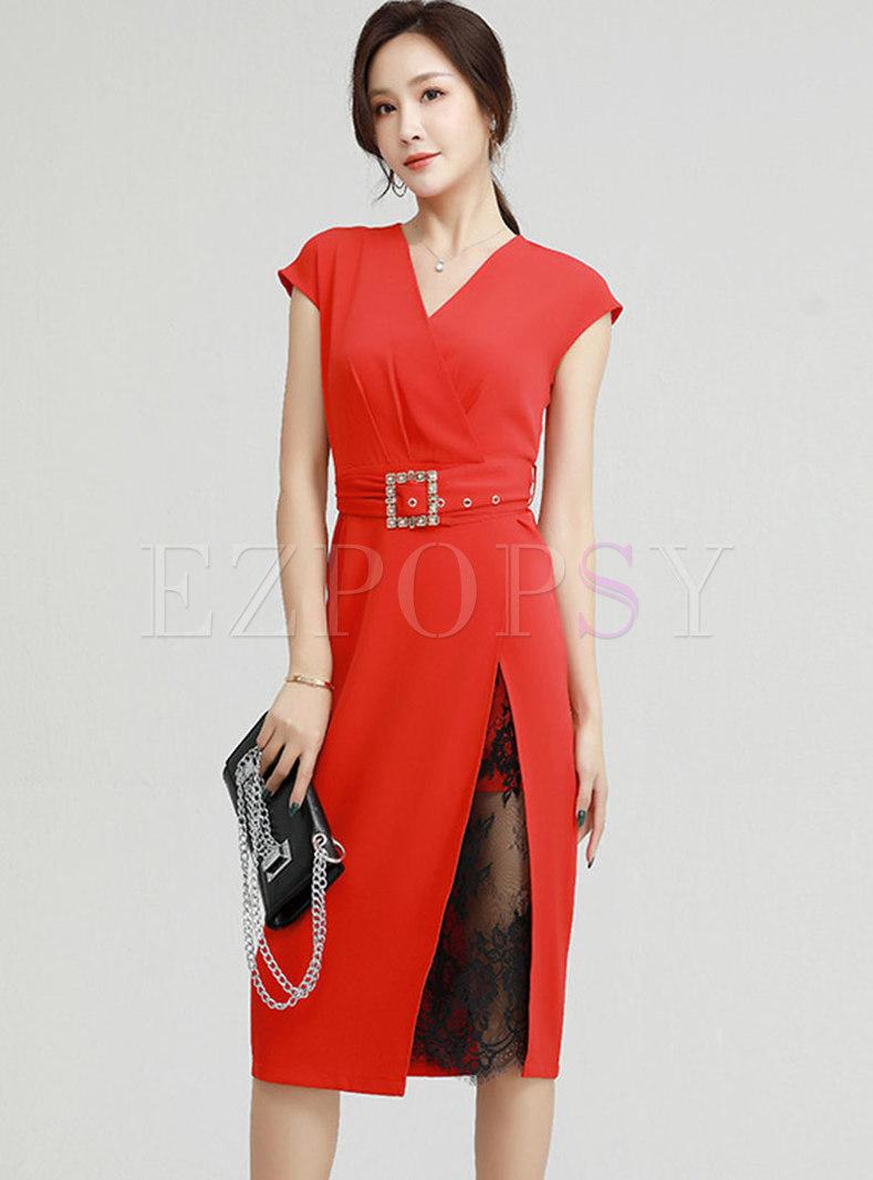 V-neck Lace Patchwork Split Bodycon Dress