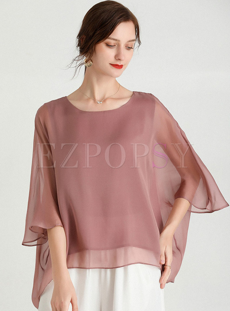 Plus Size Batwing Sleeve Pullover Blouse