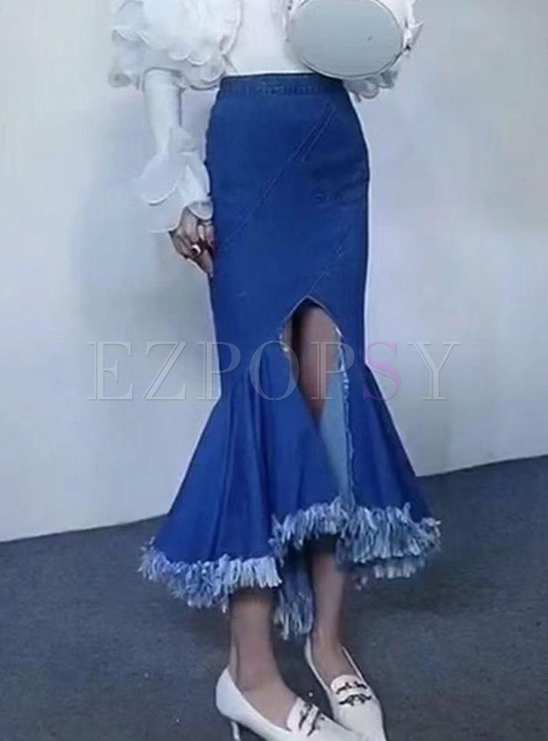 High Waisted Denim Asymmetric Maxi Peplum Skirt