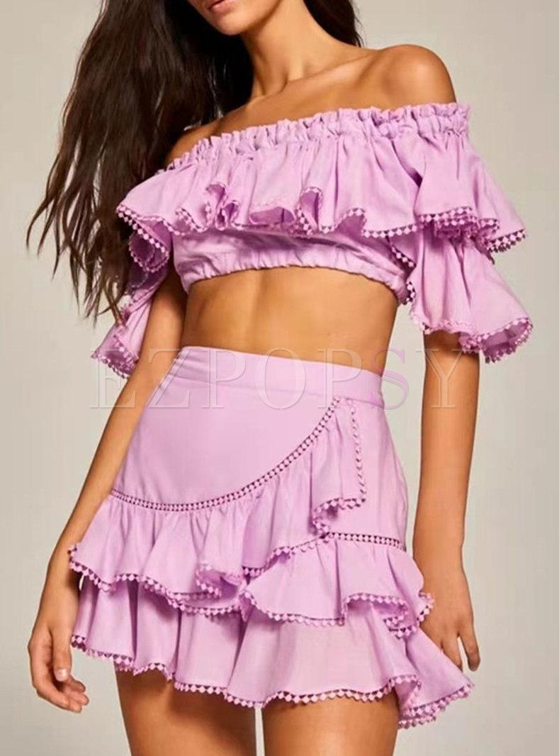 Solid Slash Neck Ruffle Top Mini A-Line Skirt Suits