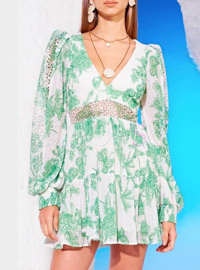 Sexy Green V-Neck Print Openwork A-Line Dress