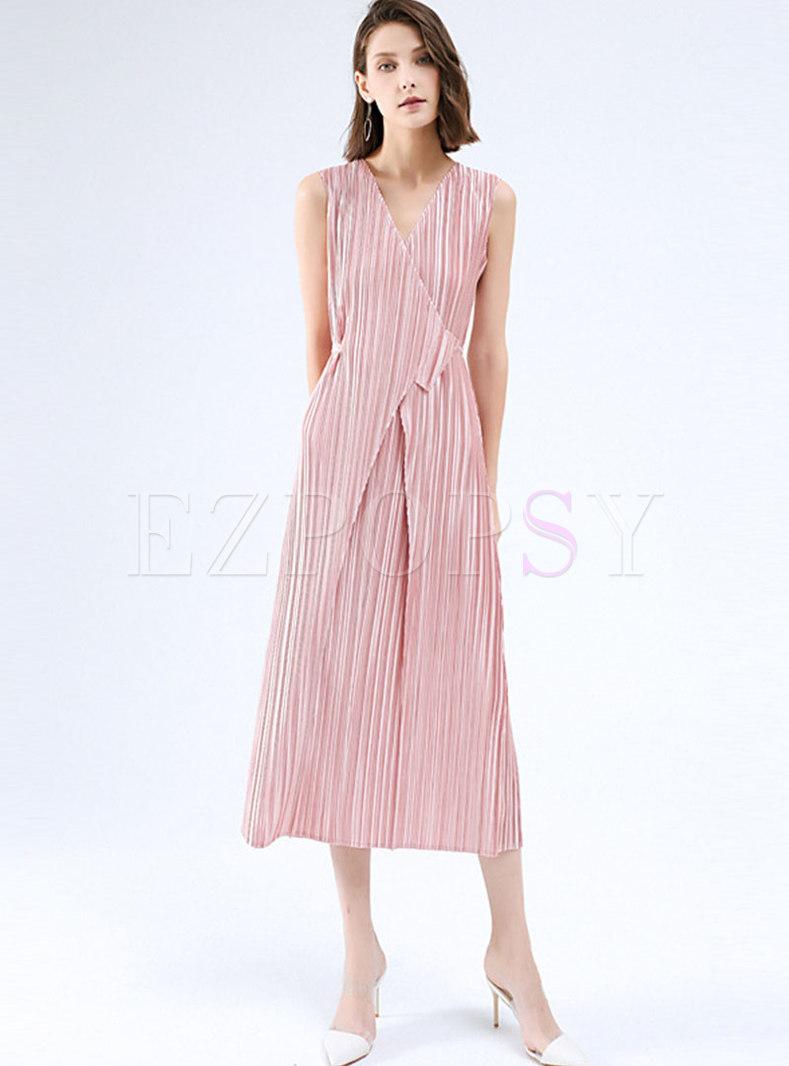 V-neck Sleeveless A Line Pleated Maxi Wrap Dress
