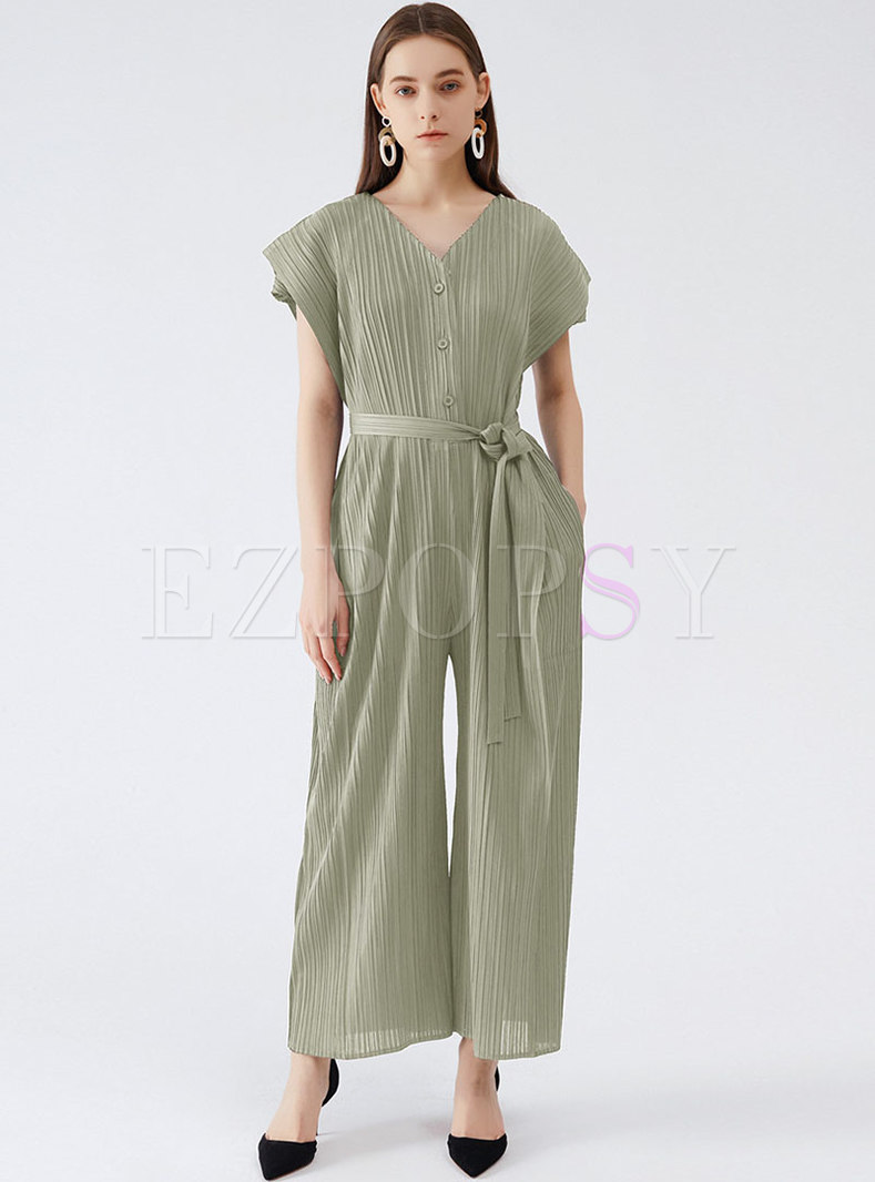 Solid Cap Sleeve Wrap Pleated Jumpsuits