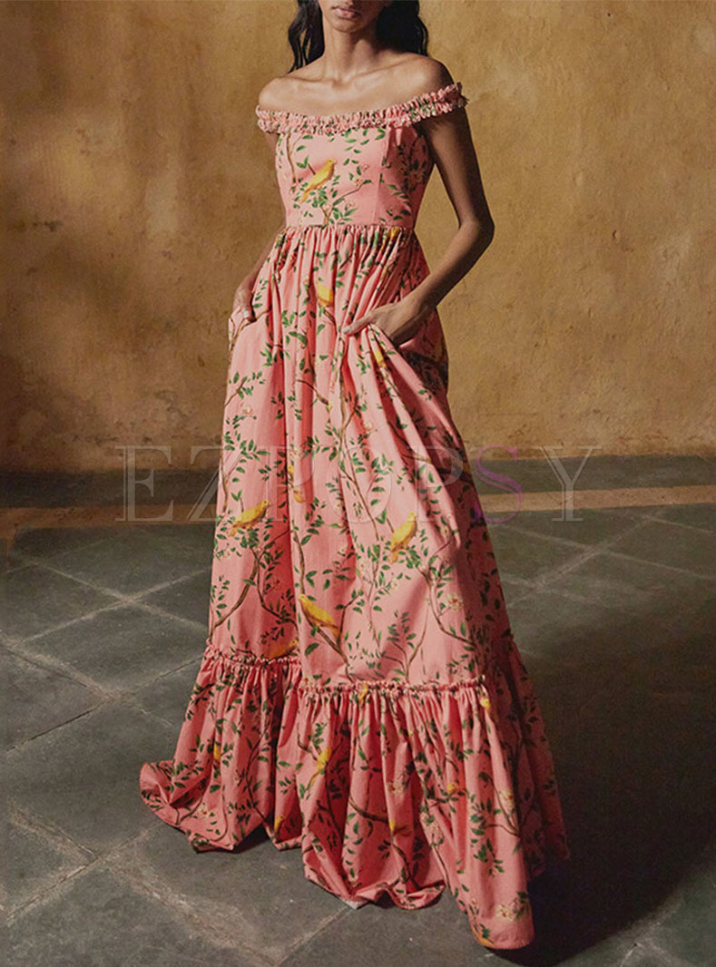 Vintage Off-The-Shoulder Floral Ruffle Maxi Dress
