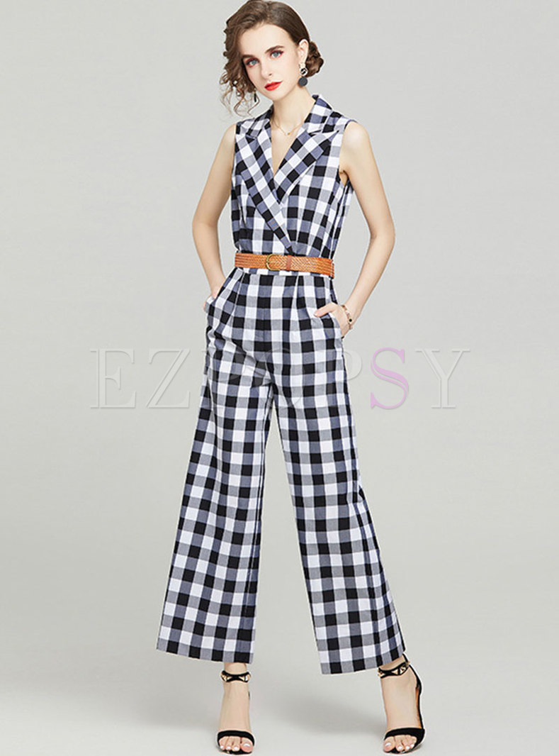 Notched Plaid High Waisted Wide Leg Jumpsuits