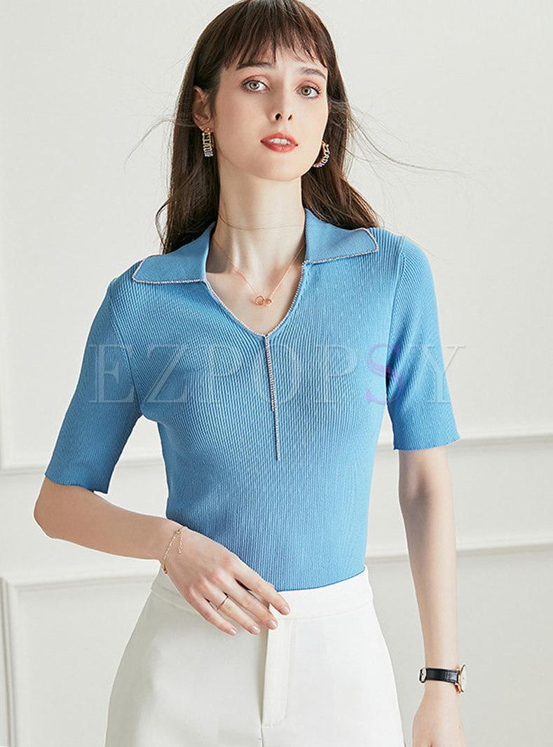 Solid V-Neck Rhinestone Knitted T-Shirt