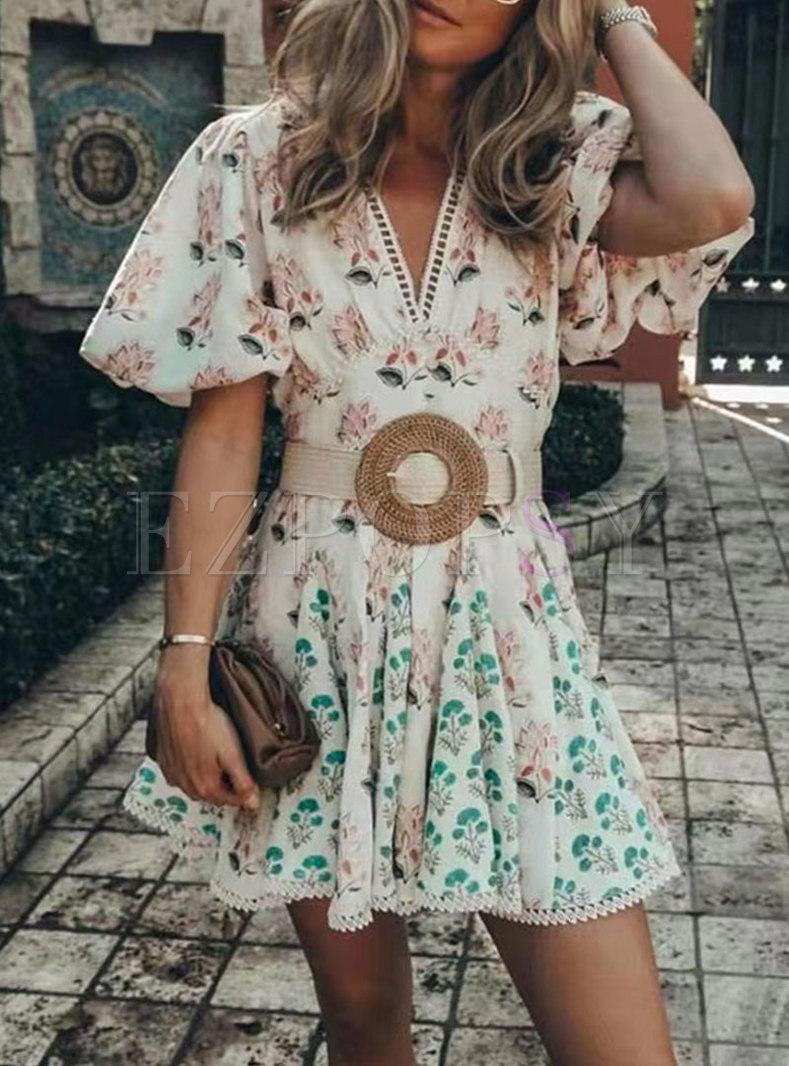 Boho V-neck Puff Sleeve Print Belted Mini Dress