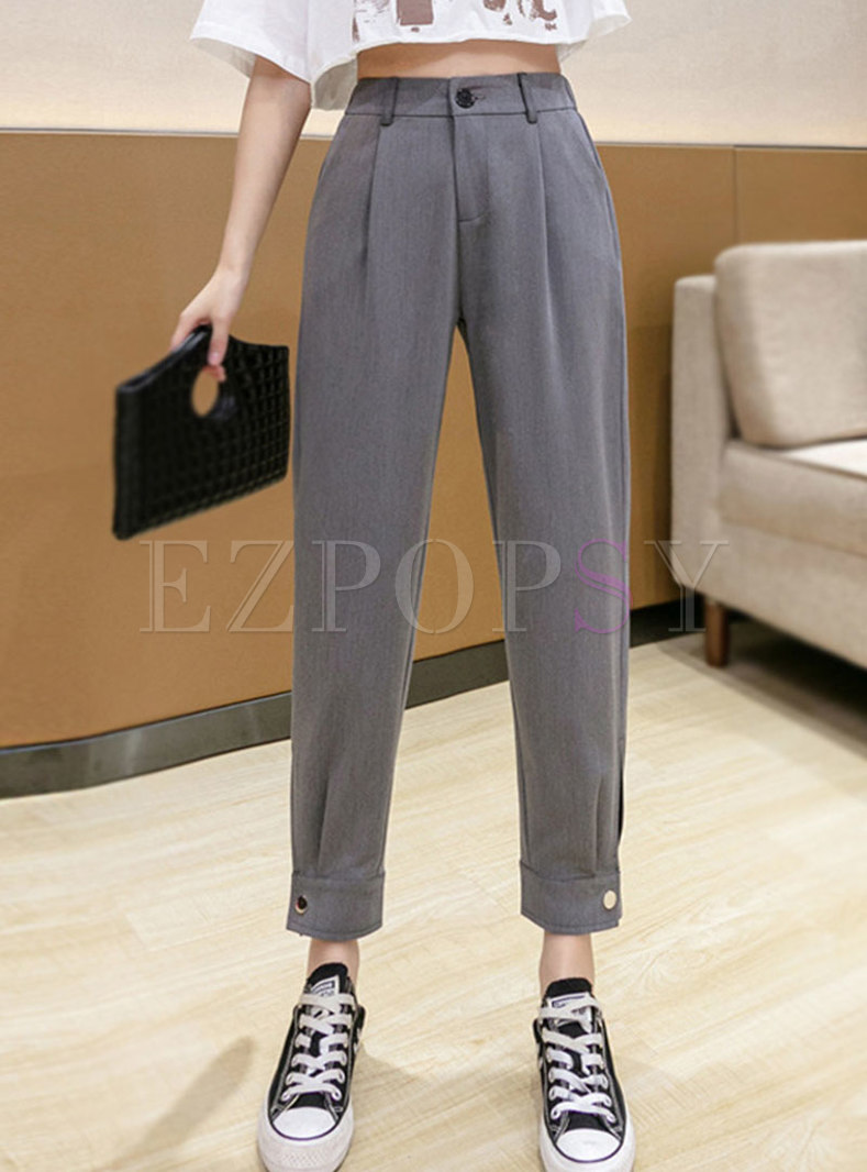 Casual solid High Waisted Openwork Harem Pants