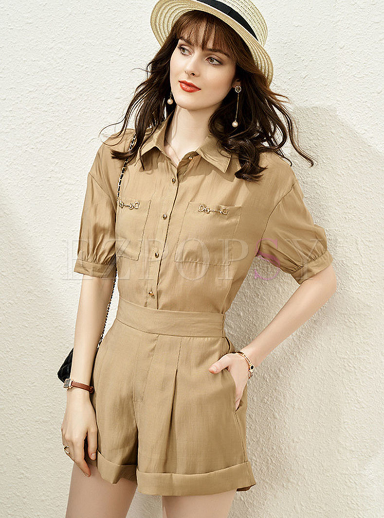 Casual Short Sleeve High Waisted Wide Leg Rompers