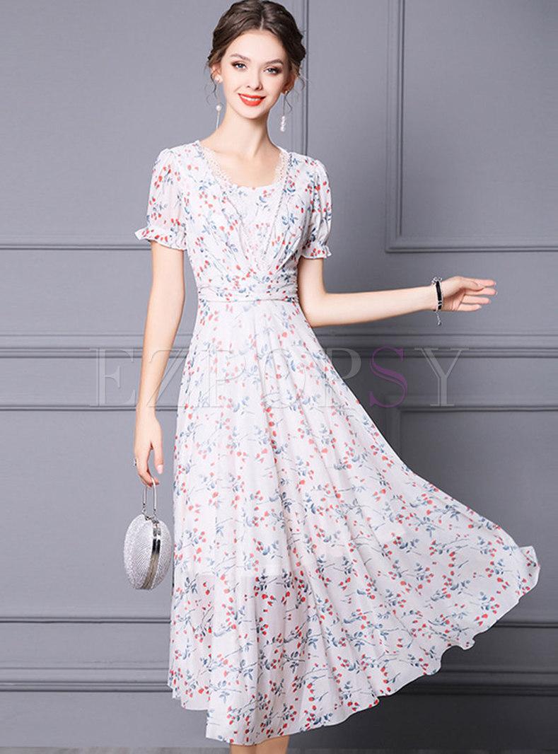 Crew Neck Floral A Line Chiffon Maxi Dress