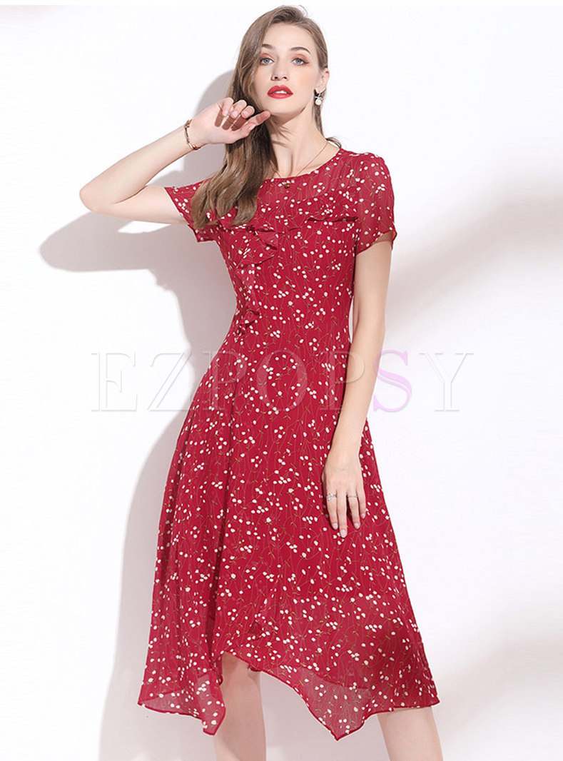 Red Cew Neck Floral Irregular A-Line Dress