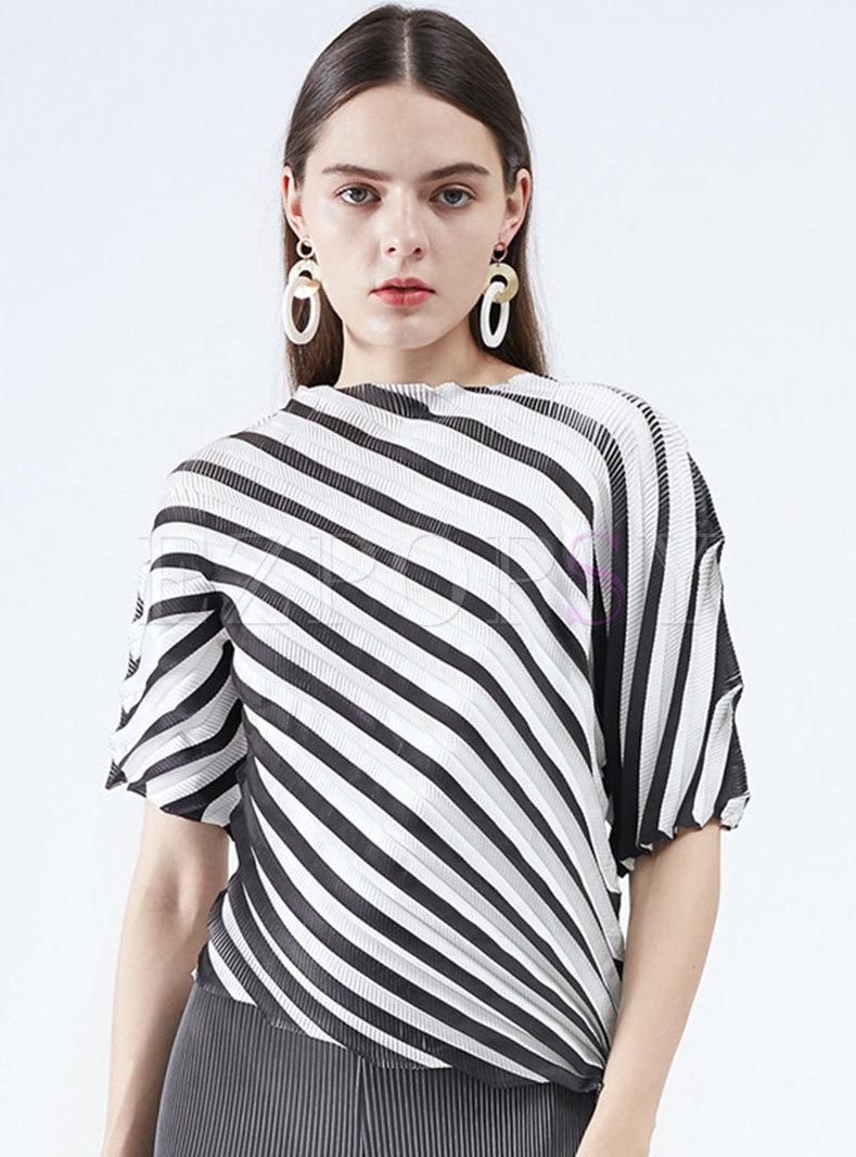 Chic Striped Half Sleeve Irregular T-Shirt