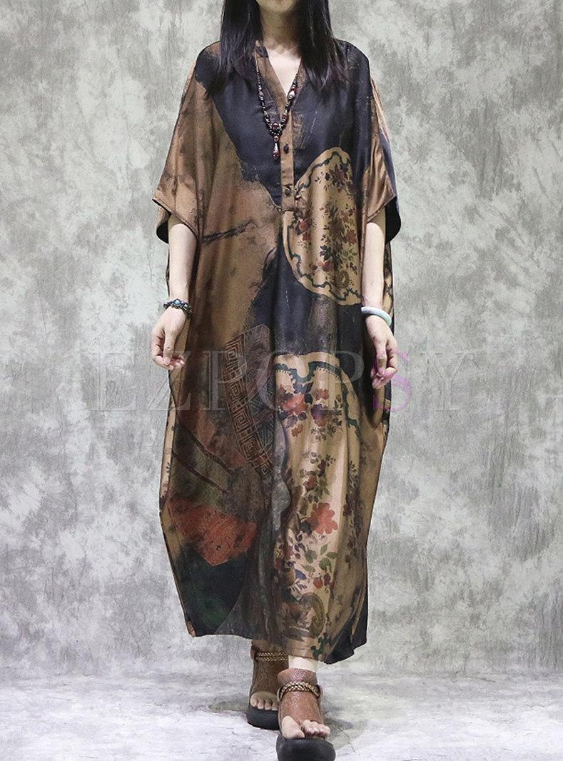 Retro Plus Size Batwing Sleeve Shift Maxi Dress