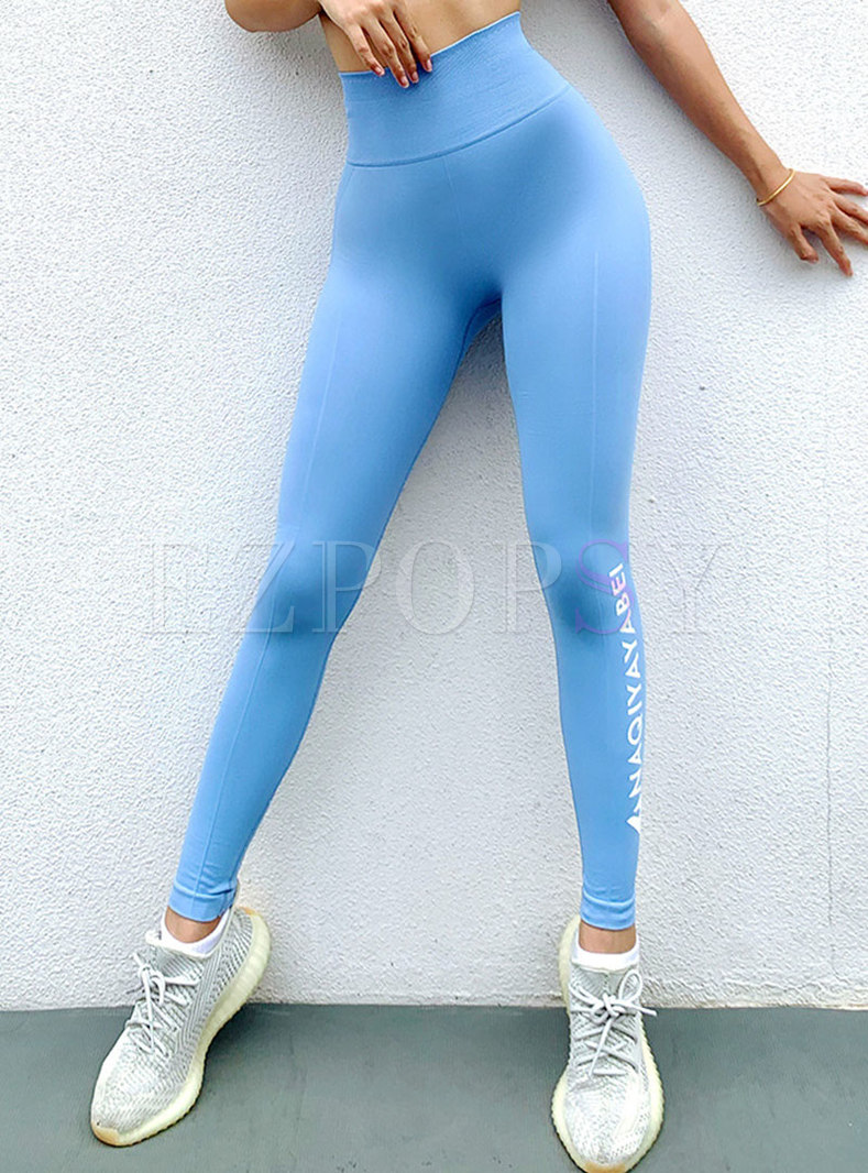 High Waisted Letter Print Tight Yoga Pants