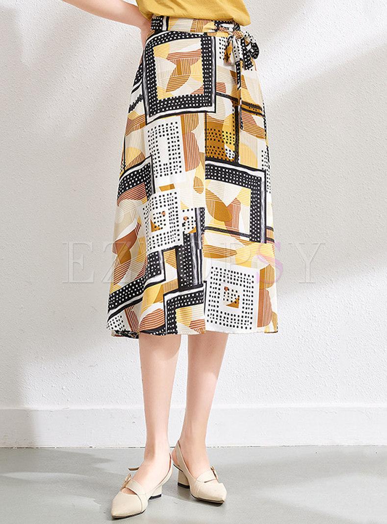 Multi Geometric Print Wrap Skirt