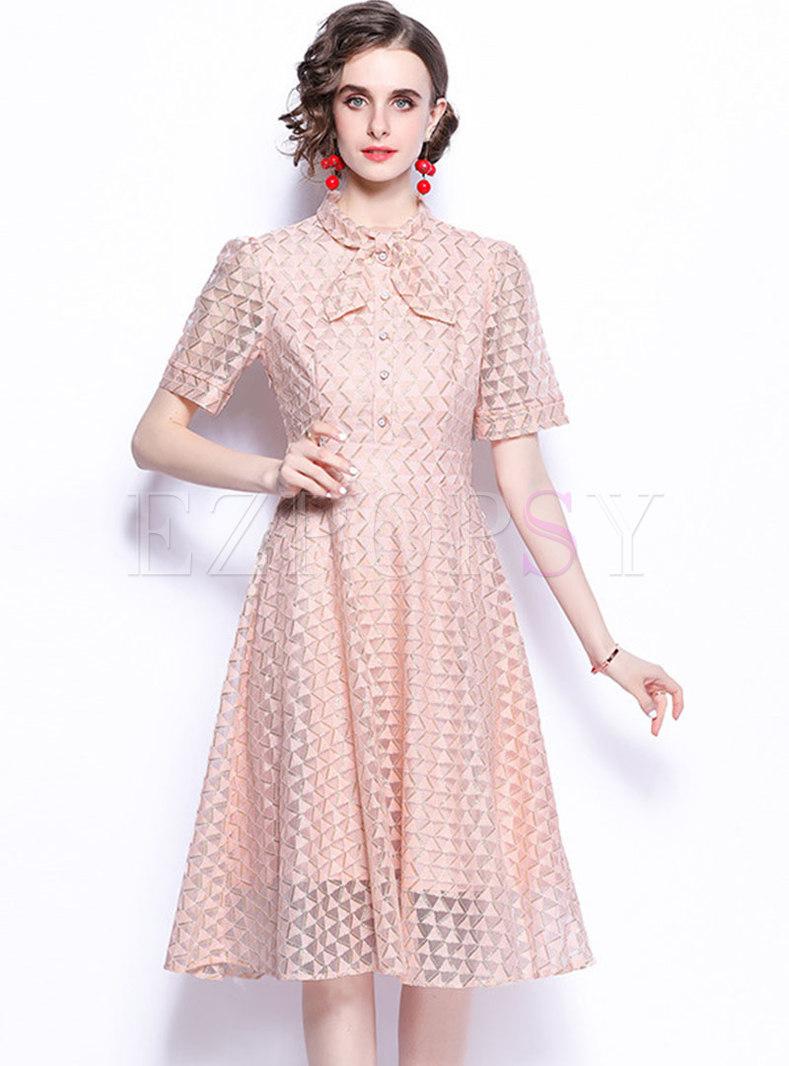Mock Neck Bowknot A Line Lace Skater Dress