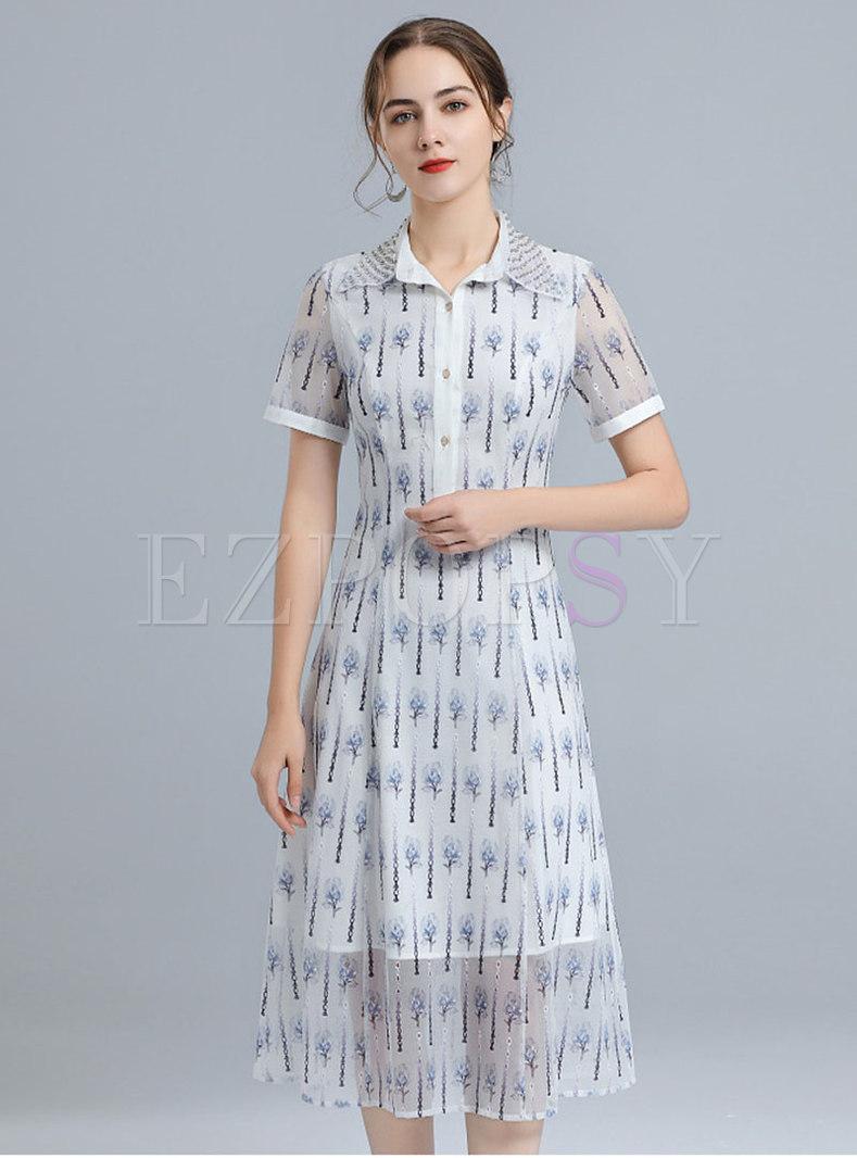 Elegant Turn-Down Collar Embroidered Mesh Dress