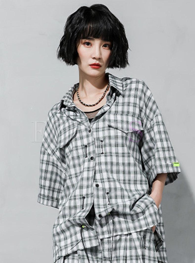 Chic Patch Plaid Half Sleeve Loose Shirt