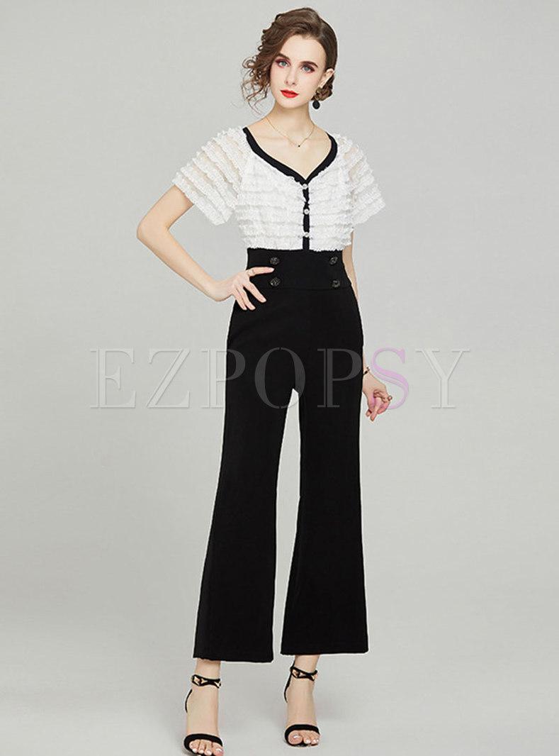 V-Neck Lace Short Sleeve Wide Leg Jumpsuits