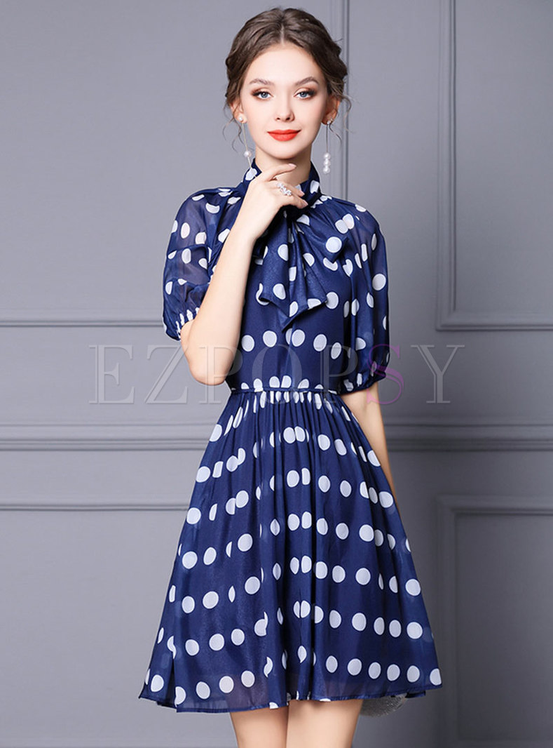 Mock Neck Half Sleeve Dot Blue Skater Dress