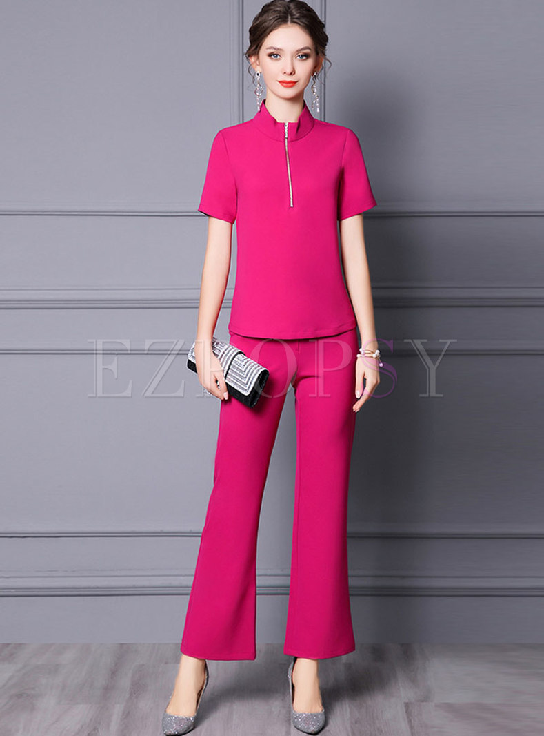 Solid Mock Neck Pullover Flare Pant Suits