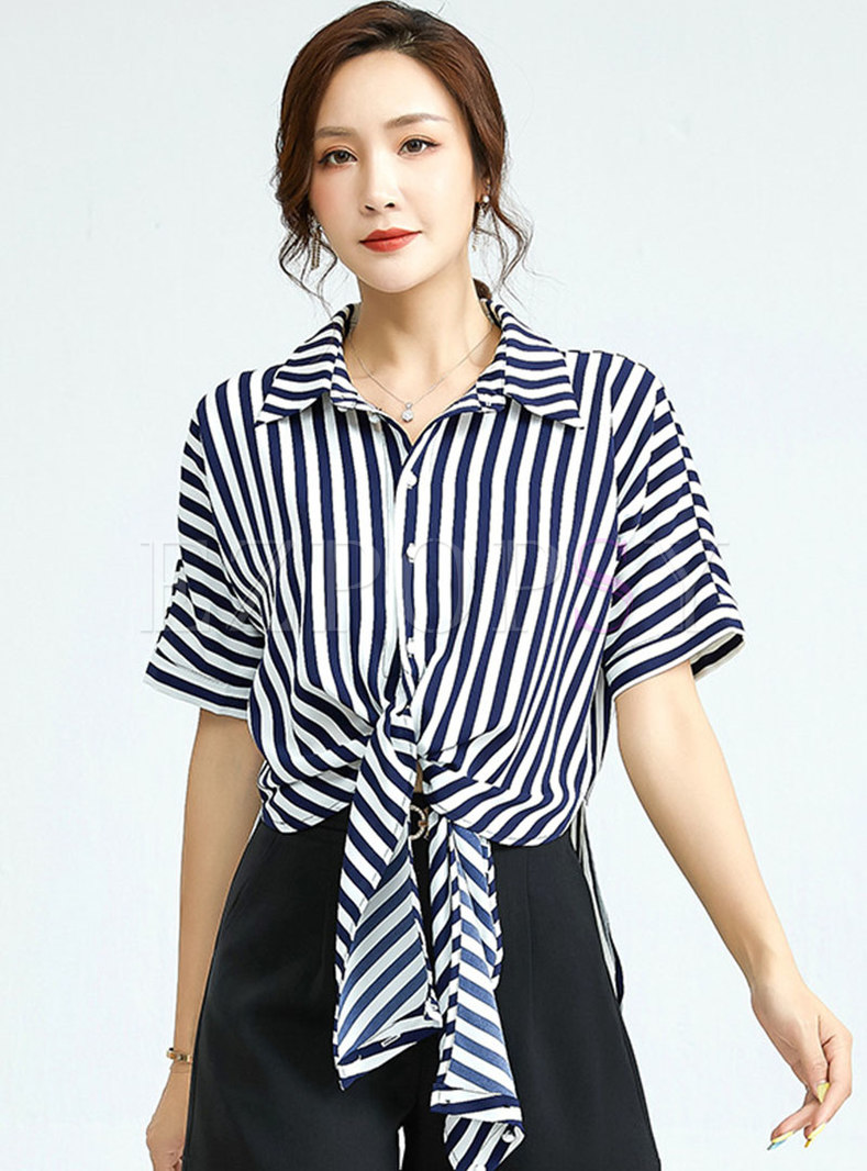 Turn-down Collar Striped Tie-front Shirt