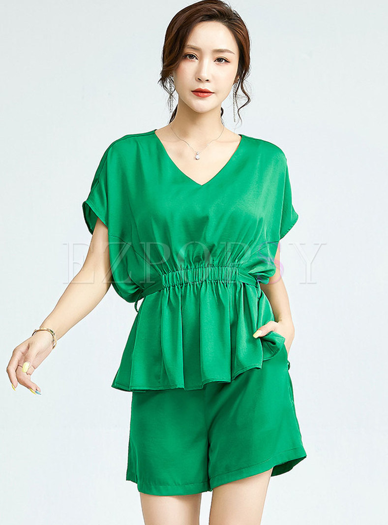 Casual Solid V-neck Pullover Straight Pant Suits