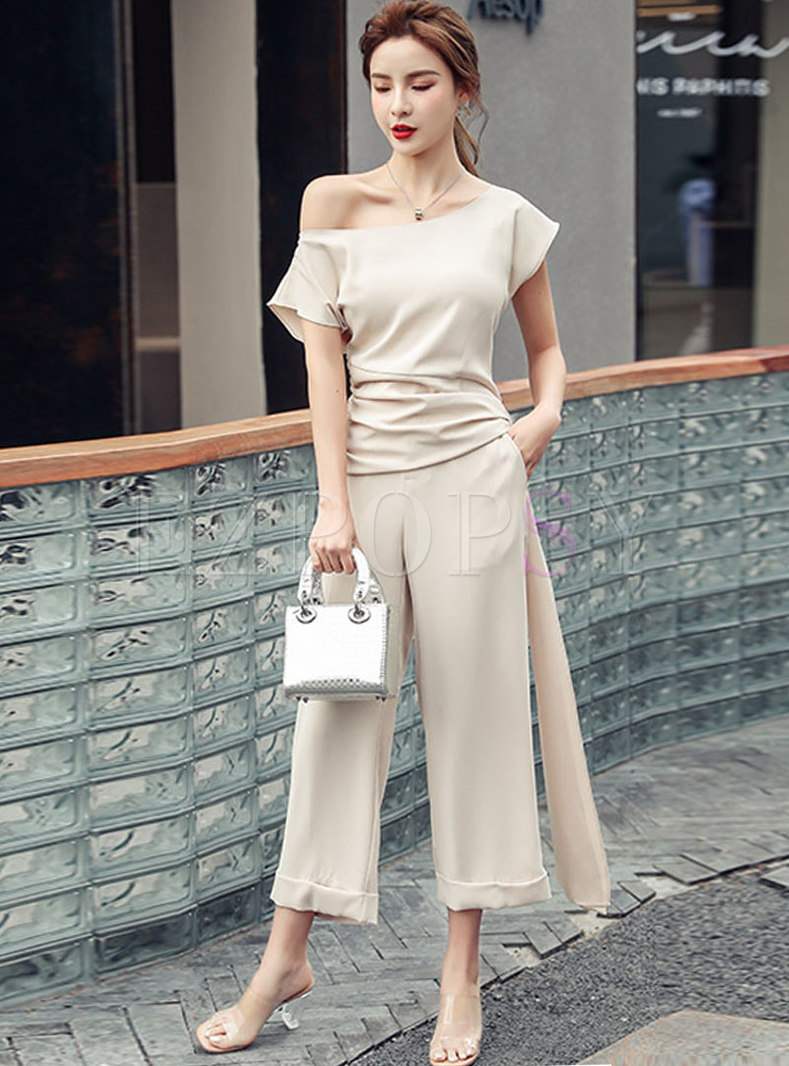Casual Pullover Blouse & High Waisted Wide Leg Pants