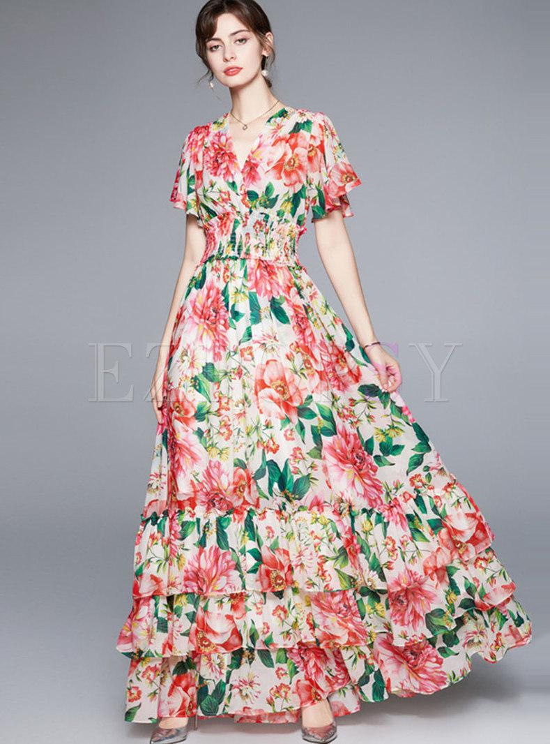 Floral V-Neck Layer Blouson Dress