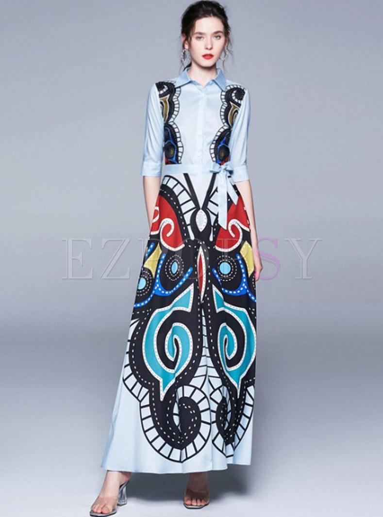 Retro Print Bowknot Big Hem Maxi Dress
